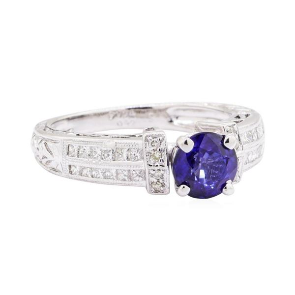1.36 ctw Sapphire and Diamond Ring - 14KT White Gold