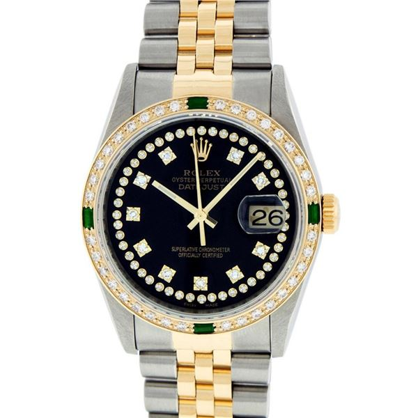 Rolex Mens 2 Tone Black String Diamond & Emerald 36MM Oyster Perpetual Datejust