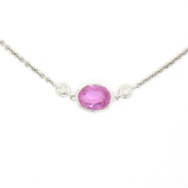 "18K White Gold 16"" 1.37 ctw GIA Pink Sapphire & Diamond Pendant Necklace"