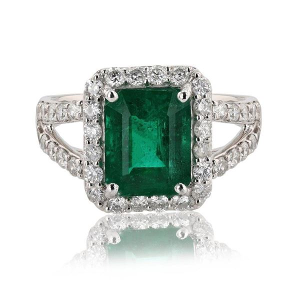 2.64 ctw Emerald and 0.89 ctw Diamond Platinum Ring