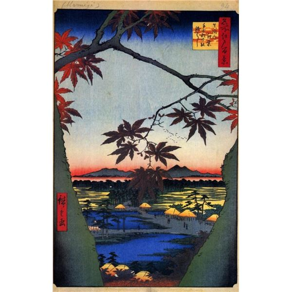 Hiroshige  - Maple Trees at Mama