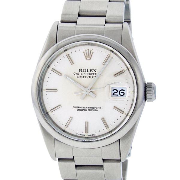 Rolex Mens Stainless Steel Slate Grey Index Datejust Jubilee Band Datejust Wrist