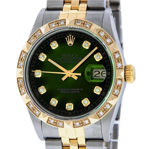 Rolex Mens 2 Tone Green Vignette Pyramid Diamond 36MM Datejust Wristwatch