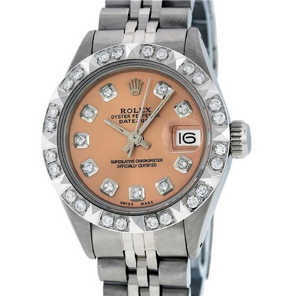 Rolex Ladies 26 Stainless Steel Salmon Pyramid Diamond Oyster Perpetual Datejust
