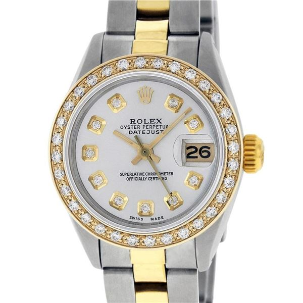 Rolex Ladies 26 Yellow Gold Stainless Steel Silver Diamond 26MM Datejust Wristwa
