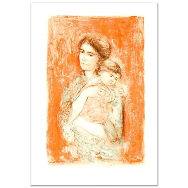 """""""Leona and Baby"""" Limited Edition Lithograph by Edna Hibel (1917-2014), Numbered"""