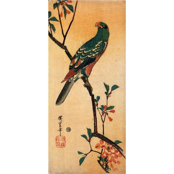 Hiroshige Parrot on a Blooming Branch