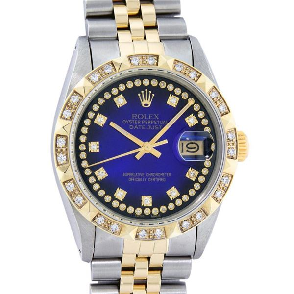 Rolex Mens 2 Tone Blue Vignette String Pyramid Diamond Datejust Wristwatch