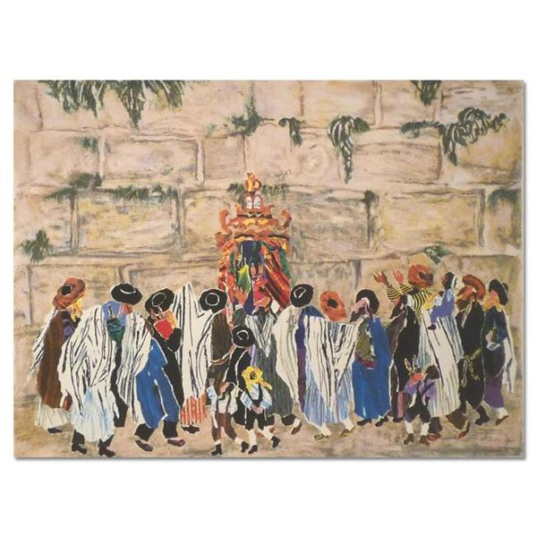 """Judith Yellin, """"Simha Tora at the Wall"""" Hand Signed Limited Edition Serigraph wi"""