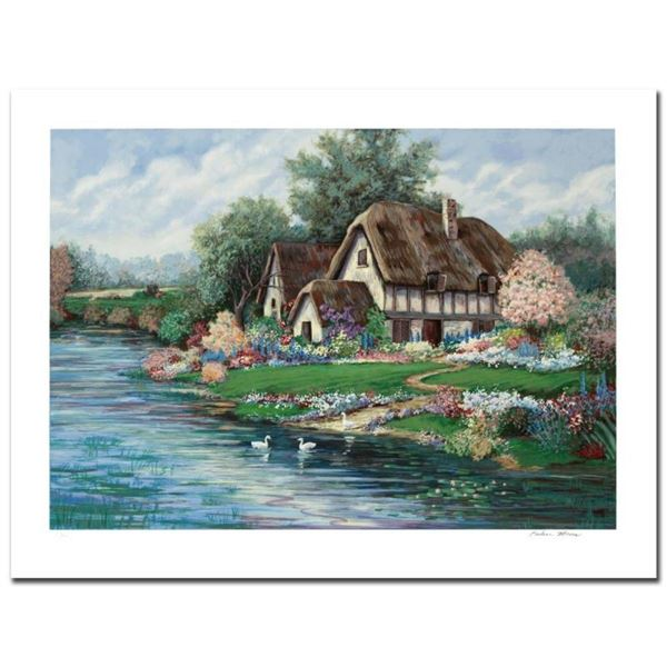 """""""English Farmhouse"""" Limited Edition Serigraph by Earlene Moses, Numbered and Han"""