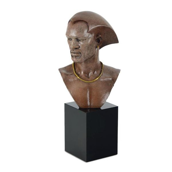 """Thomas Blackshear, """"Remembering"""" Limited Edition Mixed Media Sculpture on Marble"""