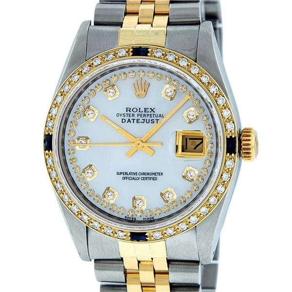 Rolex Mens 2 Tone MOP String Diamond & Sapphire 36MM Oyster Perpetual Datejust