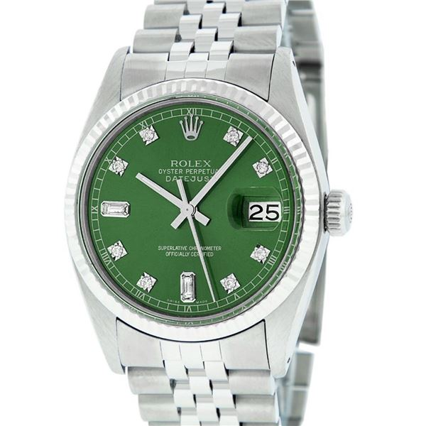 Rolex Mens Stainless Green Diamond 36MM Datejust Wristwatch Oyster Perpetual