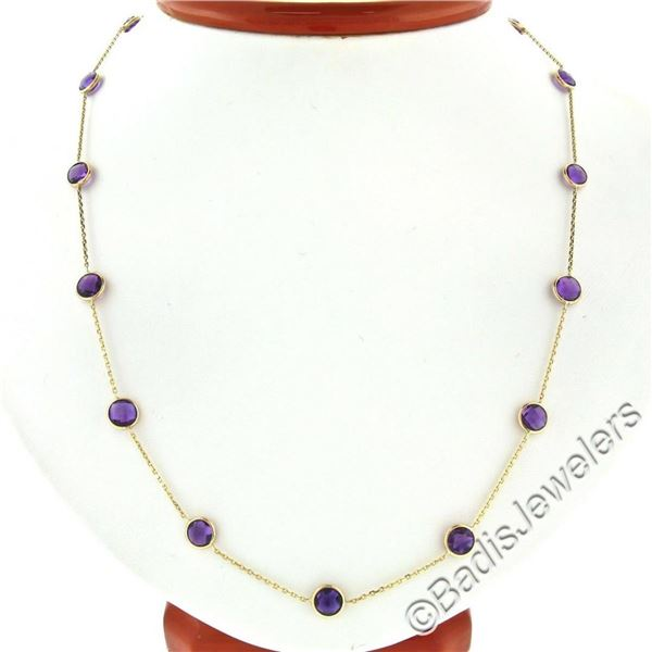 14k Yellow Gold 16.10 ctw Round Checkerboard Amethyst by the Yard Chain Necklace