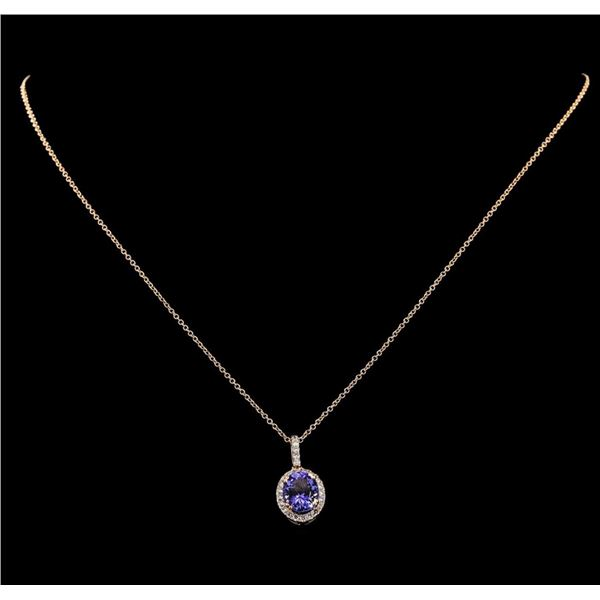 2.46 ctw Tanzanite and Diamond Pendant With Chain - 14KT Rose Gold