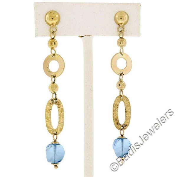14kt Yellow Gold Briolette Cut Blue Topaz Bead Long Textured Dangle Earrings