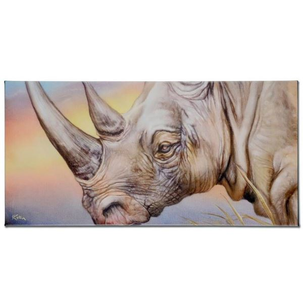 """""""White Rhino"""" Limited Edition Giclee on Canvas by Martin Katon, Numbered and Han"""
