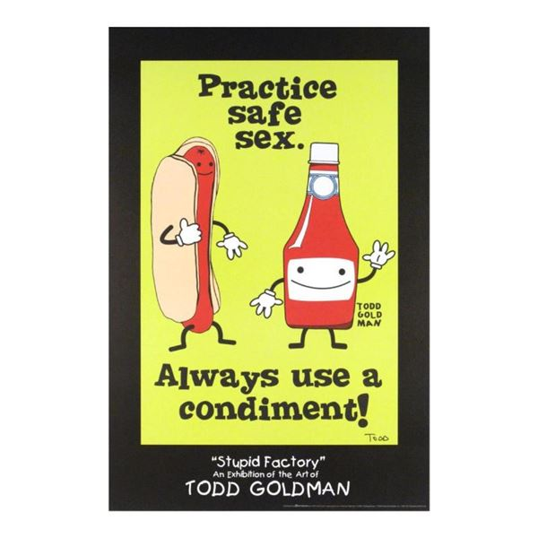 """""""Practice Safe Sex, Always Use A Condiment!"""" Collectible Lithograph Hand Signed"""