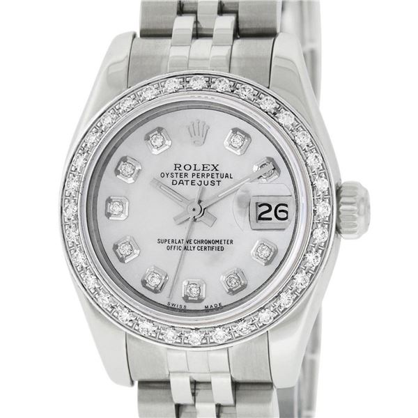Rolex Ladies New Style Quickset Datejust MOP Diamond Oyster Perpetual Datejust