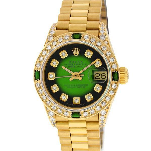 Rolex Ladies 18K Yellow Gold Green Vignette Diamond And Emerald President Wristw