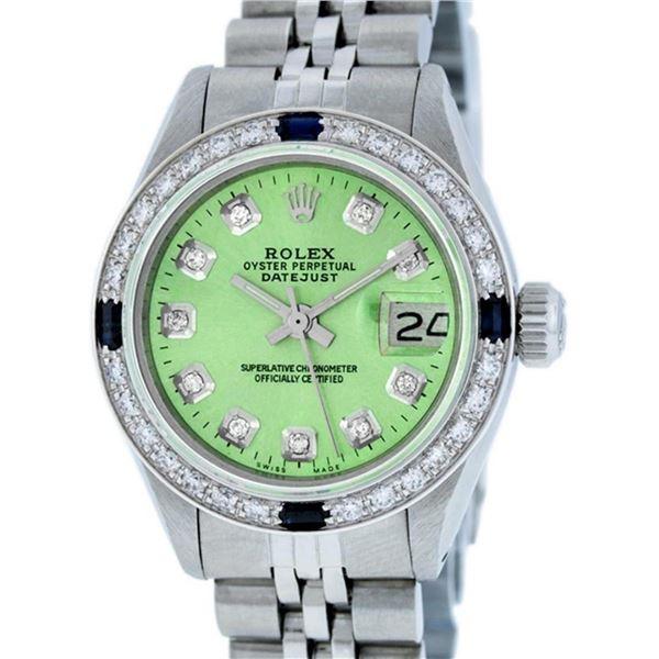 Rolex Ladies Stainless Steel 26 Green Diamond & Sapphire Datejust Wristwatch