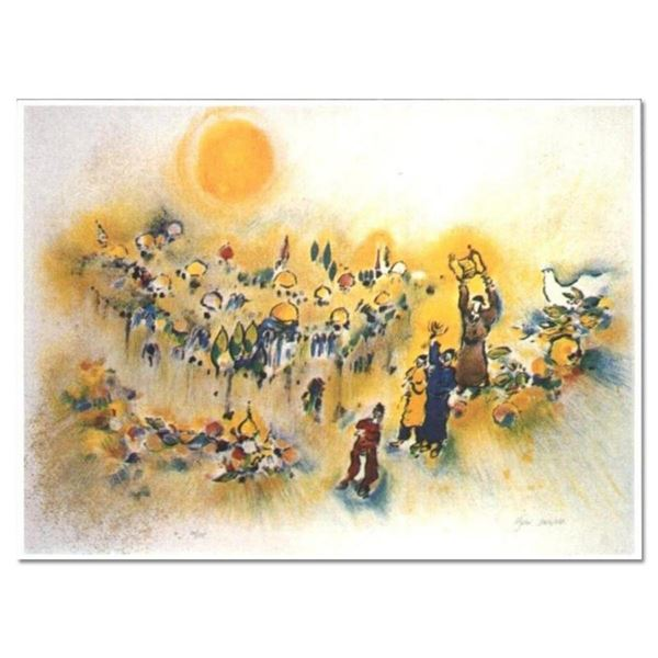 "Ben Avram, ""Jerusalem of gold"" Hand Signed Limited Edition Serigraph with Letter"
