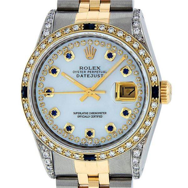 Rolex Mens 2 Tone Lugs MOP Diamond & Sapphire 36MM Oyster Perpetual Datejust