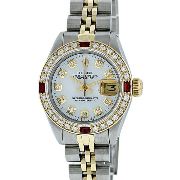 Rolex Ladies 2 Tone SS/YG MOP Diamond & Ruby Oyster Perpetual Datejust Wristwatc