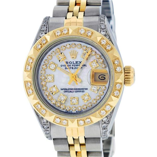 Rolex Ladies 2 Tone Mother Of Pearl Diamond Lugs Pyramid 26MM Datejust Wriswatch