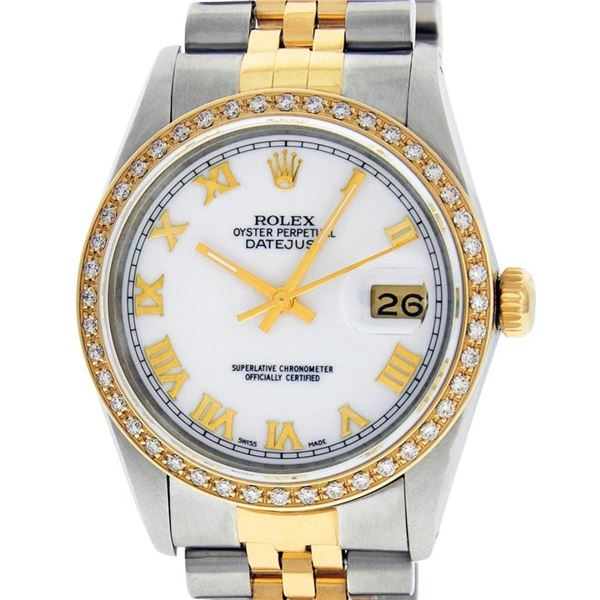 Rolex Mens 2 Tone Mother Of Pearl Diamond 36MM Datejust Wristwatch