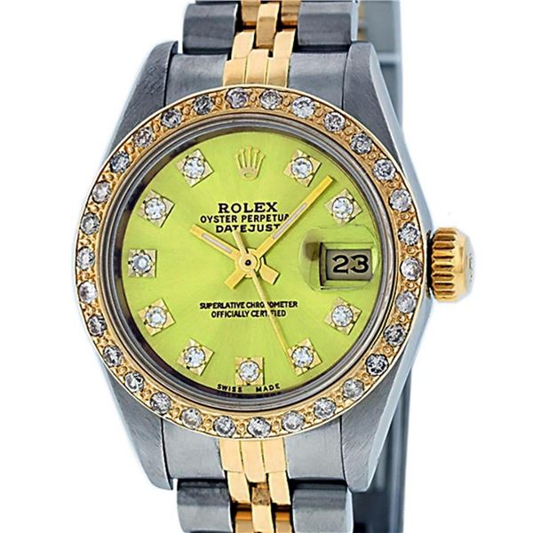 Rolex Ladies 2 Tone Yellow VS Diamond Oyster Perpetual Datejust Wristwatch