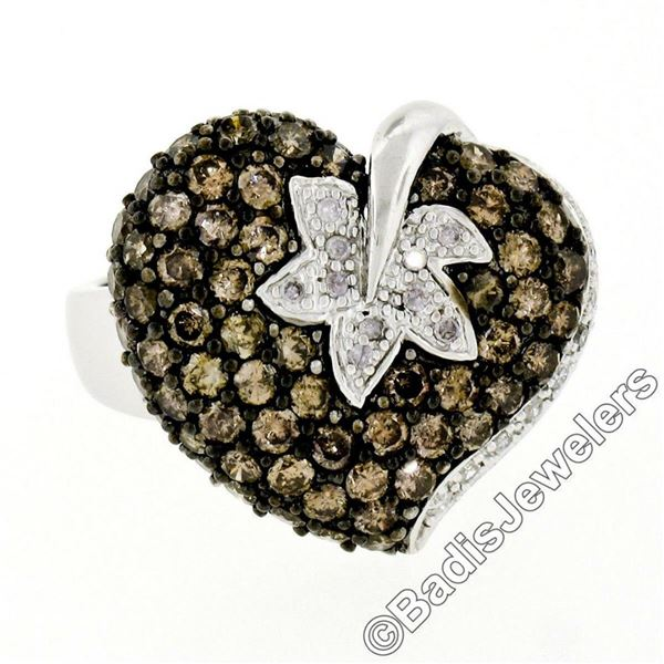 10kt White Gold 3.10 ctw Brown and White Diamond Leaf Heart Cluster Ring