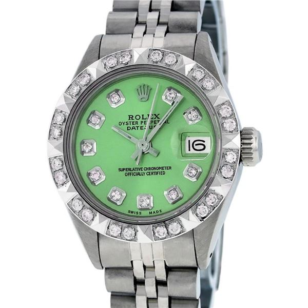 Rolex Ladies 26 Stainless Steel Green Pyramid Diamond Datejust Wristwatch Servic