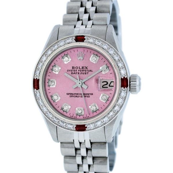 Rolex Ladies Stainless Steel Pink Diamond & Ruby 26MM Datejust Wristwatch