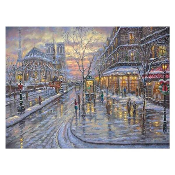 "Robert Finale, ""Christmas In Paris"" Hand Signed, Artist Embellished AP Limited E"