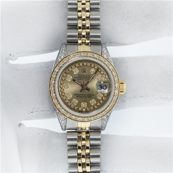 Rolex Ladies 2 Tone Champagne Diamond Lugs Datejust Wristwatch With Rolex Box