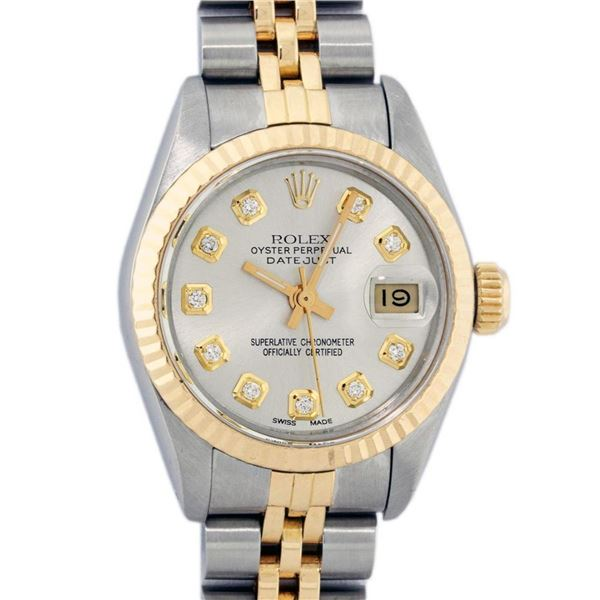 Rolex Ladies 2 Tone Silver Diamond 26MM Datejust Wristwatch