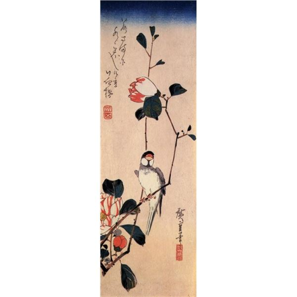Hiroshige Java Sparrow and Magnolia Branch