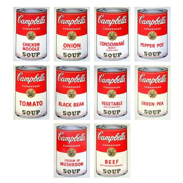 "Andy Warhol ""Soup Can Series I"" Suite of 10 Silk Screen Prints from Sunday B Mor"