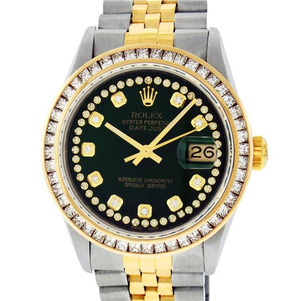 Rolex Mens 2 Tone Green String Princess Cut Diamond Datejust 26MM Wristwatch