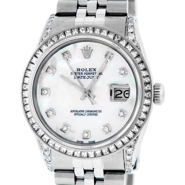 Rolex Mens Stainless Steel MOP Princess Cut Diamond Lugs 36MM Datejust Wristwatc