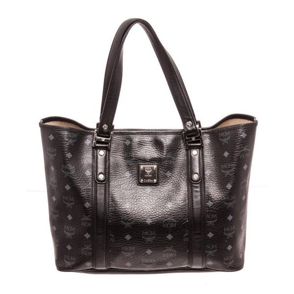 MCM Black Large Shopper Tote Bag