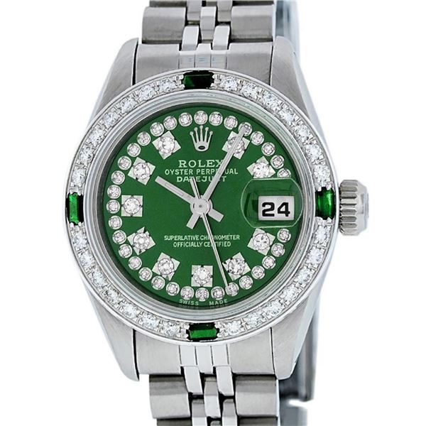 Rolex Ladies Stainless Steel Green Emerald & Diamond Datejust Wristwatch 26MM