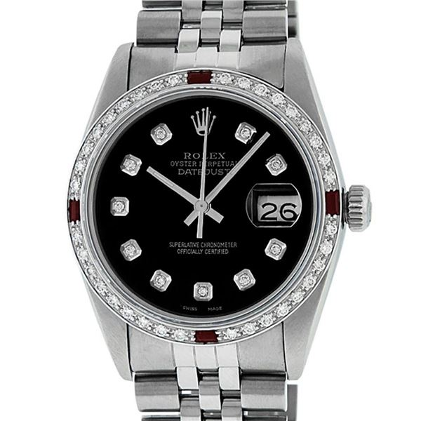 Rolex Mens 36 Datejust Black Diamond & Ruby Oyster Perpetual Serviced Polished