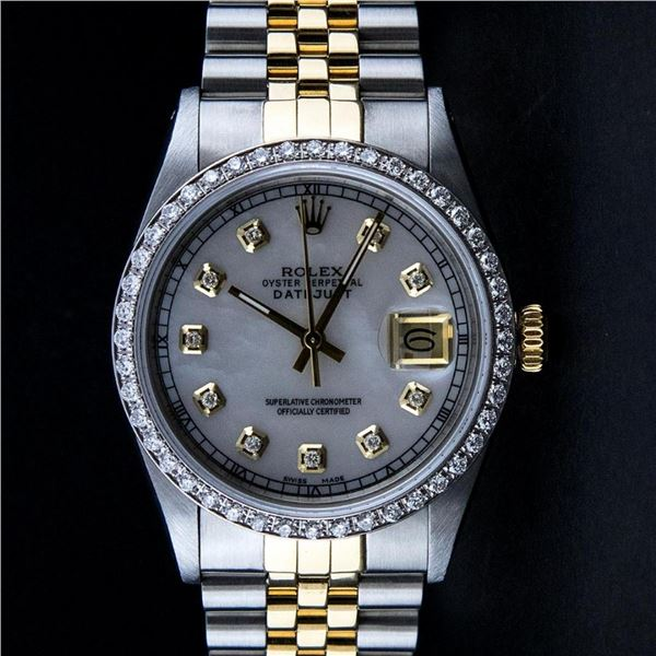 Rolex 2T Mother Of Pearl Diamond 36MM Oyster Perpetaul Datejust 36MM