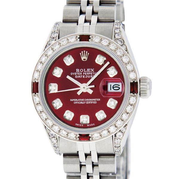 Rolex Ladies Stainless Steel Diamond Lugs & Ruby Datejust Wristwatch 36MM