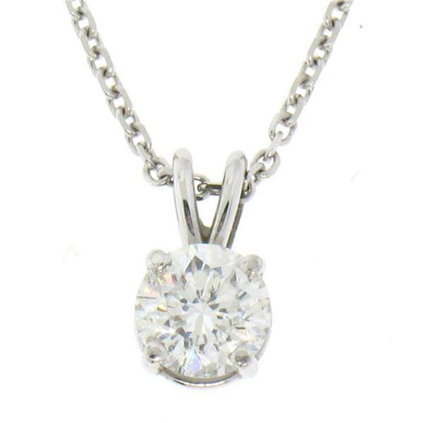 14k White Gold 0.55 ctw Round F SI1 Diamond Solitaire Pendant w/ Cable Chain