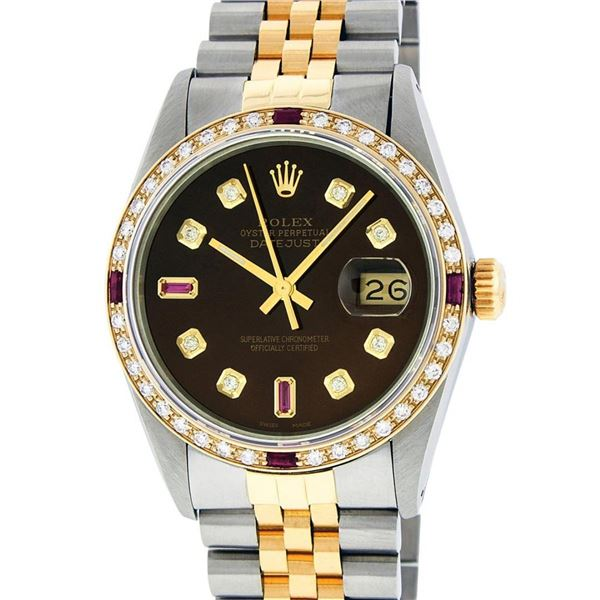 Rolex Mens 2T Brown Diamond & Ruby 36MM Oyster Perpetual Datejust