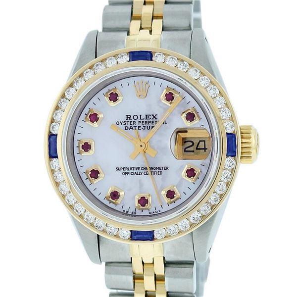 Rolex Ladies 2 Tone MOP Ruby & Sapphire Channel Set 26MM Datejust Wristwatch