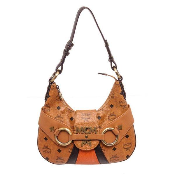 MCM Cognac Visetos Coated Canvas  Leather Satchel Bag